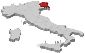 Map of Italy with Friuli Venezia Giulia