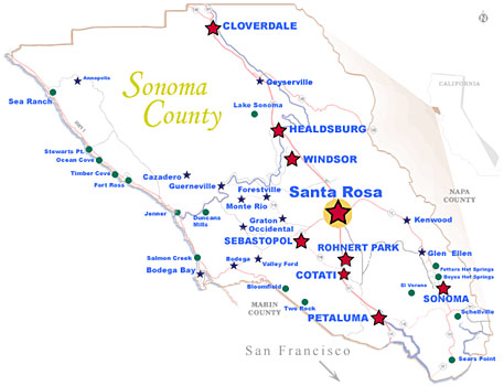 Map of Sonoma County