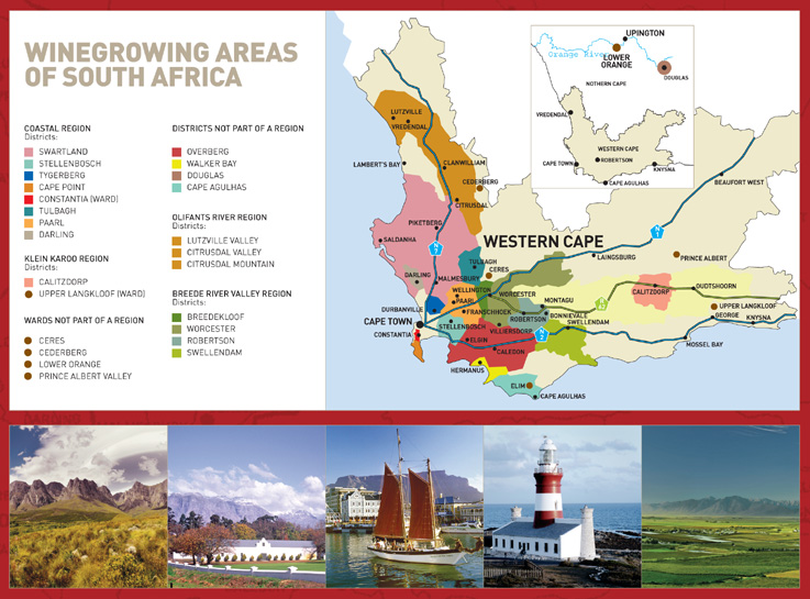 Wine growing areas of South Africa